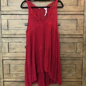 Free People Red High to Low Dress